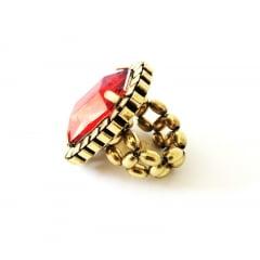 Anel ouro velho com pedra vermelha