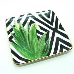 Mini pratinho de cerâmica com pintura de folhas