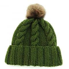 Gorro em lã verde pompom de pêlo