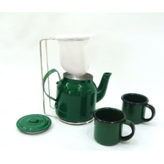 Mini coador de café com bulinho verde