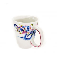 Caneca de cerâmica mini florzinhas laço azul
