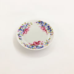 Mini pratinho de cerâmica laço rosa