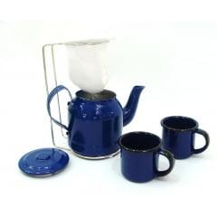 Mini coador de café com bulinho azul