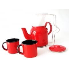 Mini coador de café com bulinho vermelho