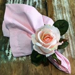 Porta guardanapo flor rosa claro