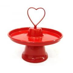 Prato de doces coração vermelho