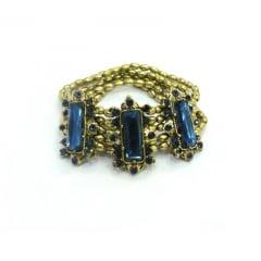 Pulseira ouro velho com pedras azuis