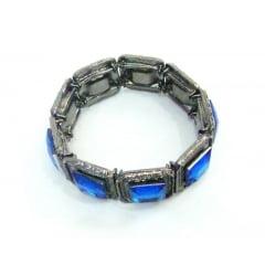 Pulseira prata velho com pedras azuis