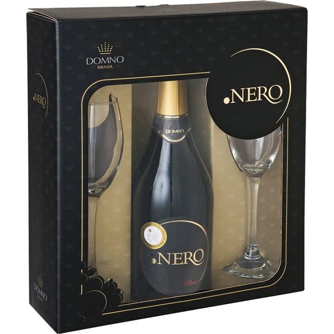 Kit Espumante Ponto Nero Brut 750ml C/2 taças de vidro