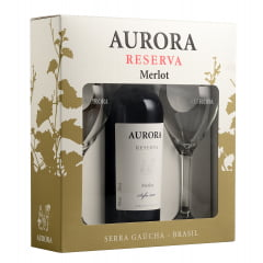 Kit Vinho Aurora Reserva Merlot Tinto 750ml C/2 Taças