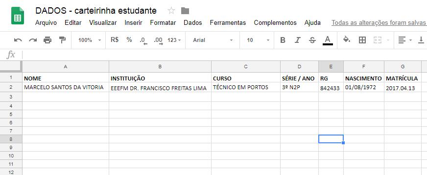 Planilha de Dados - Carteirinha estudante