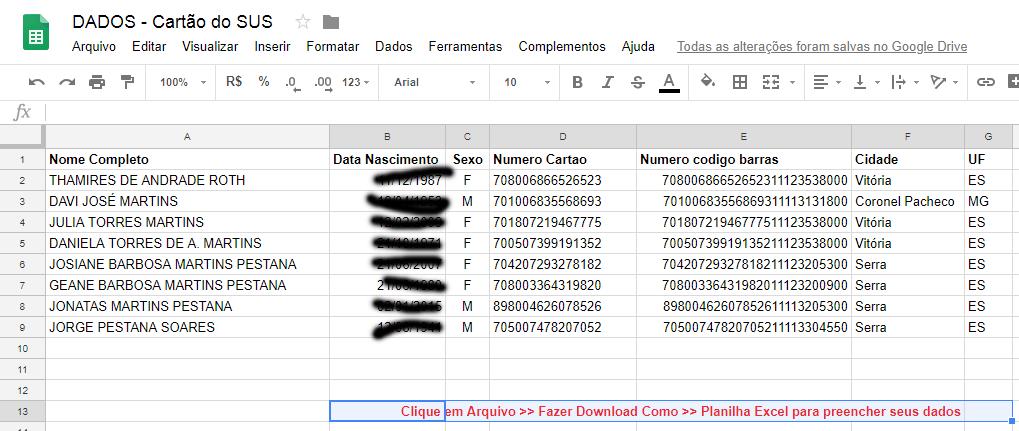 Planilha modelo dados para cartão SUS. Clique para baixar