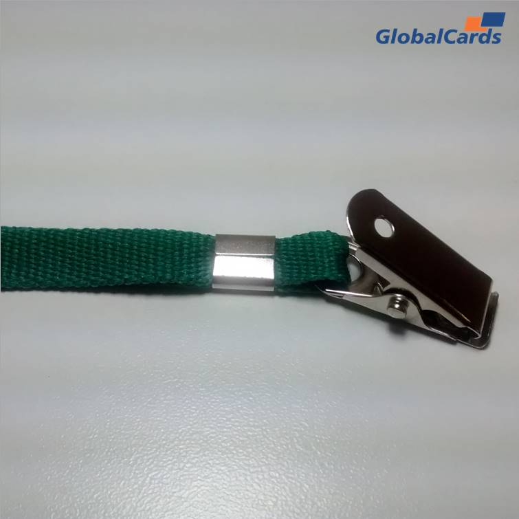 Cordão Liso 09mm para crachá c/ presilha clips jacaré verde
