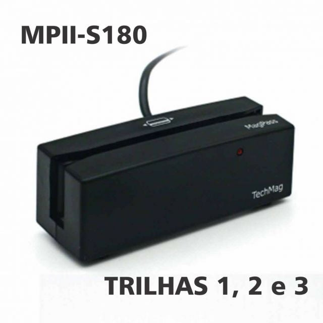 Leitor de Cartão Magnético Magpass MPII-S180 trilhas 1, 2, 3 Alta e Baixa