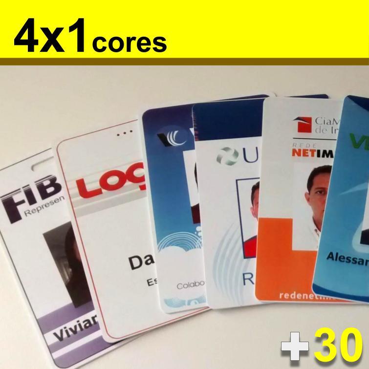 Crachás de PVC 0,76mm 4x1 Cores Dados Mínimo 30 unidades