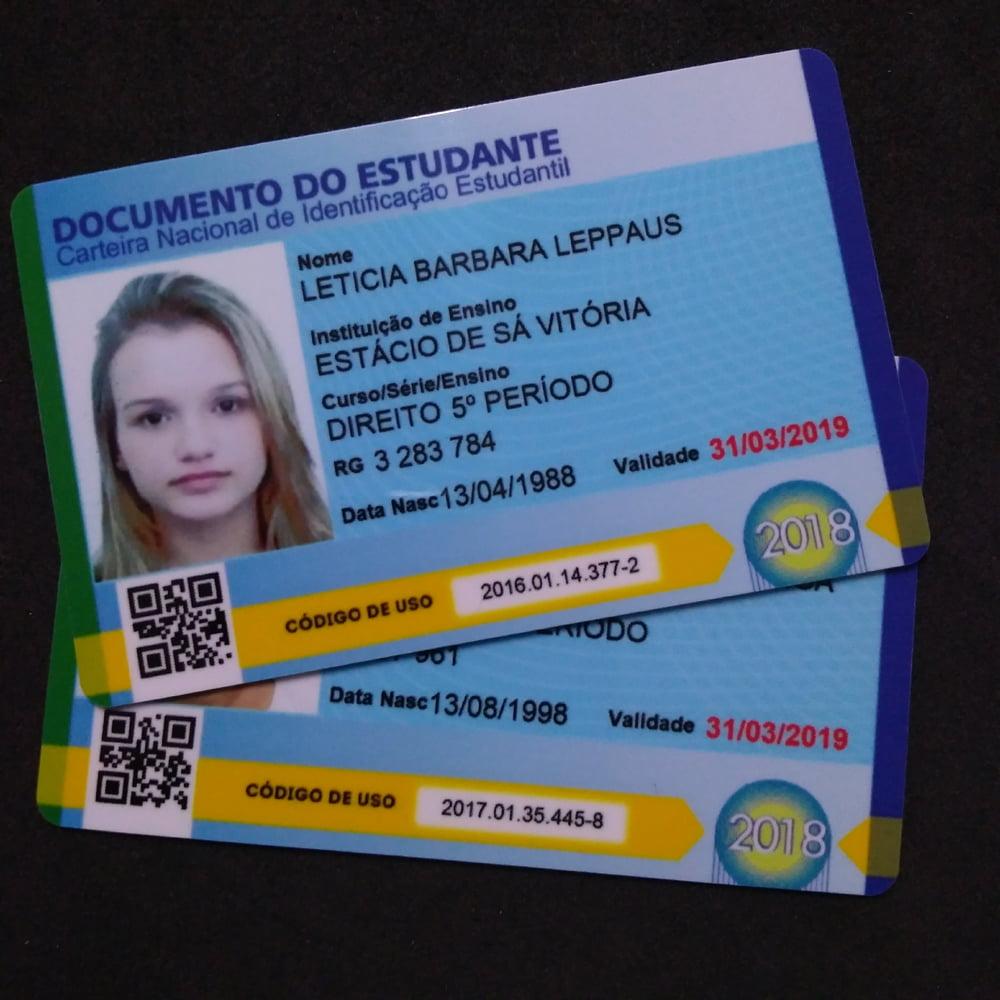 Carteirinha Estudantil de PVC 0,76mm 4x4 Cores Frente e verso colorido