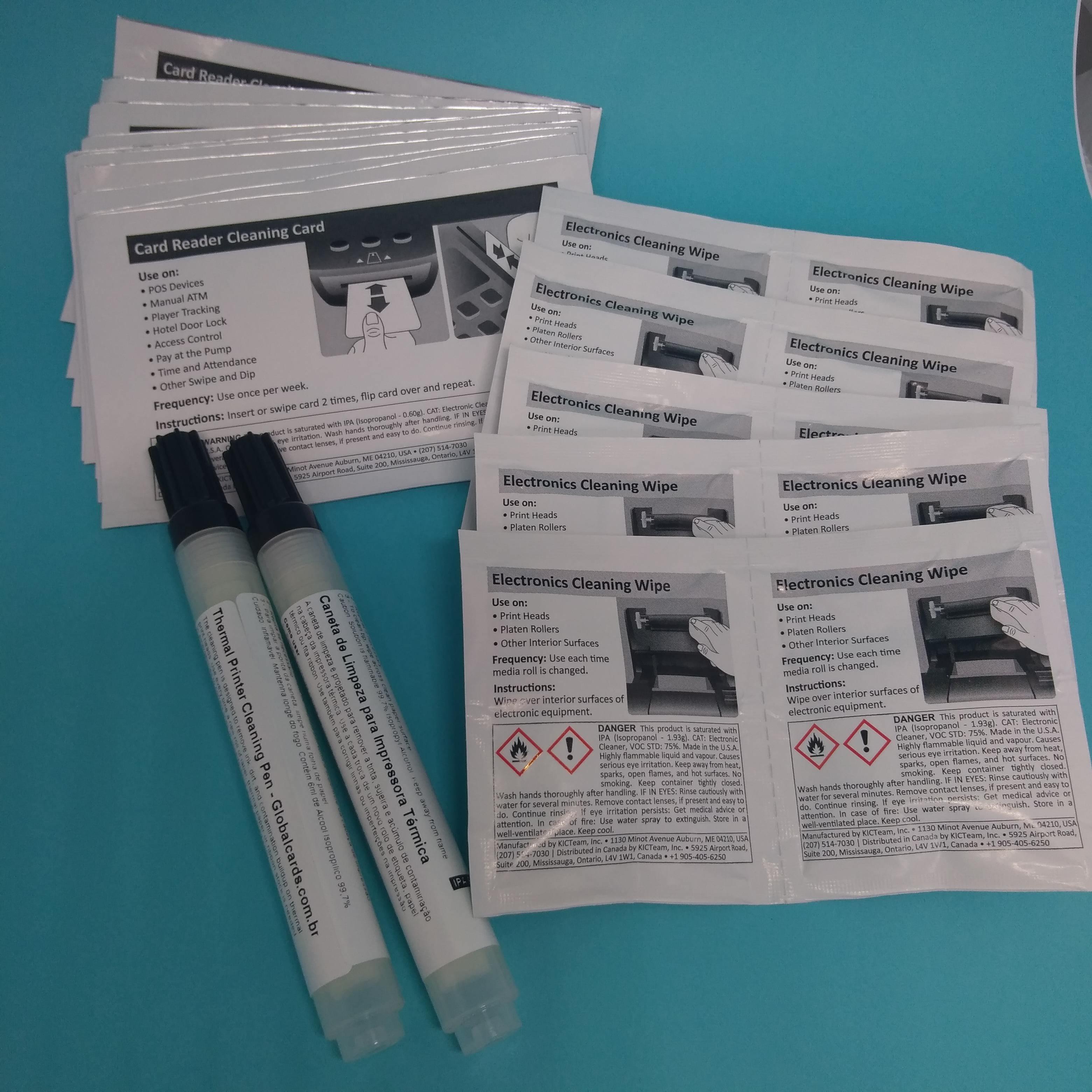 Kit de Limpeza Fargo 86003 - 2 cotonetes , 10 cartões , 10 lenços, DTC1000, DTC4000, DTC4500