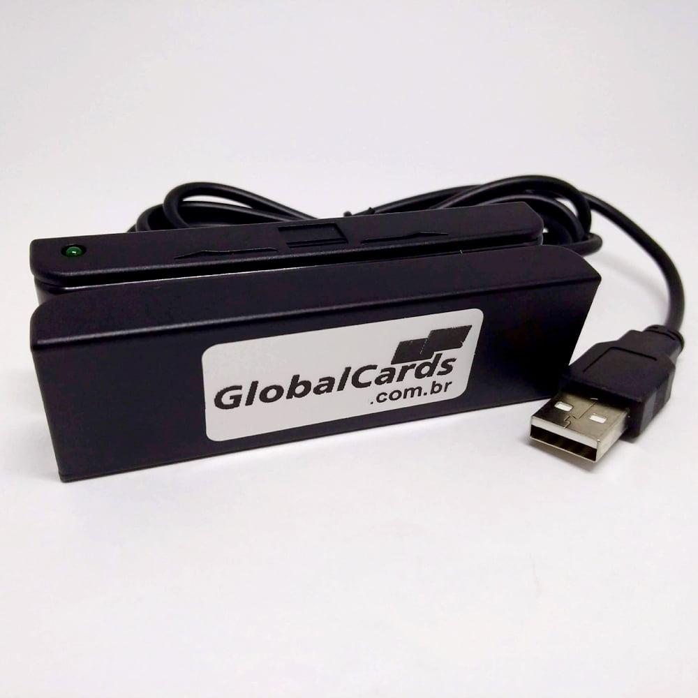 Leitor de Cartão Magnético MSR-100 Globalcards - Leitura trilhas 1, 2, 3 Alta e Baixa