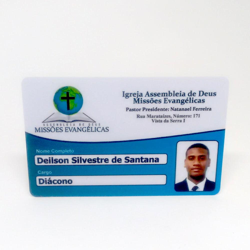 Cartão de Membro Igreja de PVC 0,76mm 4x1 Cores Dados Variáveis