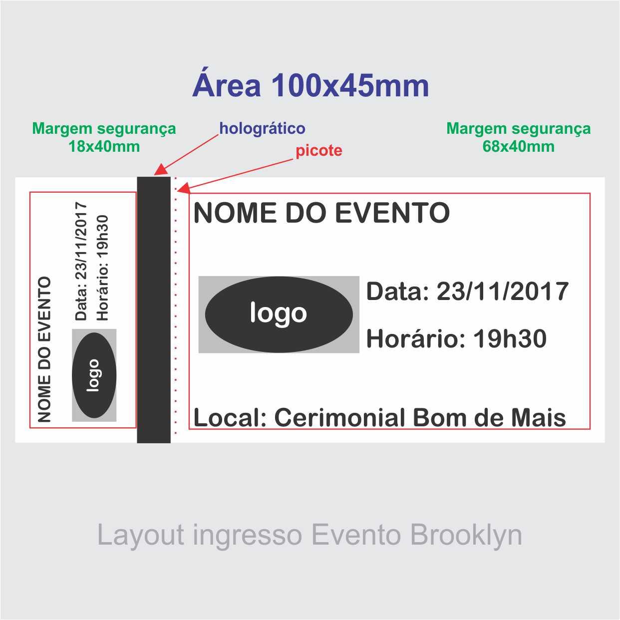 Ingresso de Segurança para Show, Festa e Evento 105x50mm mínimo 500un