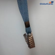 Cordão Liso 09mm para Crachá com Presilha Clips Jacaré - Cinza Grafite