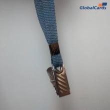 Cordão Liso 09mm para crachá c/ presilha clips jacaré cinza grafite