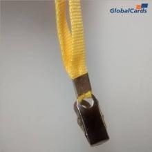 Cordão Liso 12mm para Crachá com Presilha Clips Jacaré - Amarelo