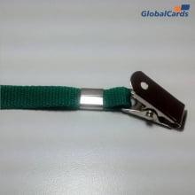 Cordão Liso 15mm para crachá c/ presilha clips jacaré verde