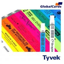 Pulseiras Identificação Eventos e Festas Tyvek Prata/ Cinza personalizadas em preto (min  100)