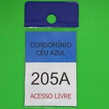 Porta Bolsa de Estacionamento PVC 001 Vertical com Furo Retrovisor Automóvel 92x137mm AZUL (un)