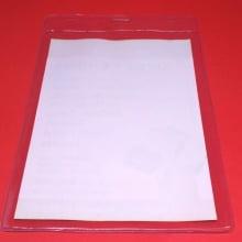 Porta CREDENCIAL Transp Bolsa de PVC Vert 10x15cm área útil 11x17cm área total c/ cordão PRETO (100 un)