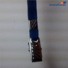 Cordão Liso 15mm para crachá c/ presilha clips jacaré azul marinho