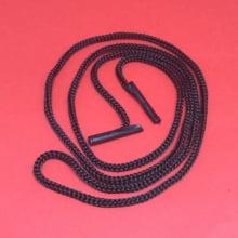 Cordão PP Preto 80cmx3mm para credencial com acabamento ponteira alça fácil