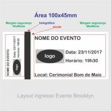 Ingresso para Show, Festas e Eventos em Papel Holográfico 105x50mm - 1X0 cores (min  500)