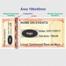 Ingresso de Segurança para Show, Festa e Evento 105x50mm mínimo 100un