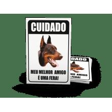 Placas de Sinalização - Advertência Cão-Bravo - H501 - A - 28,9x21,4mm 4x0 cor em PVC 0,5mm