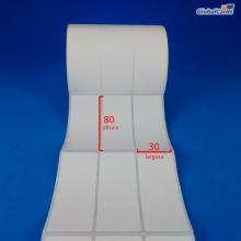 Etiqueta Adesiva Couchê 30x80mm x 3 colunas