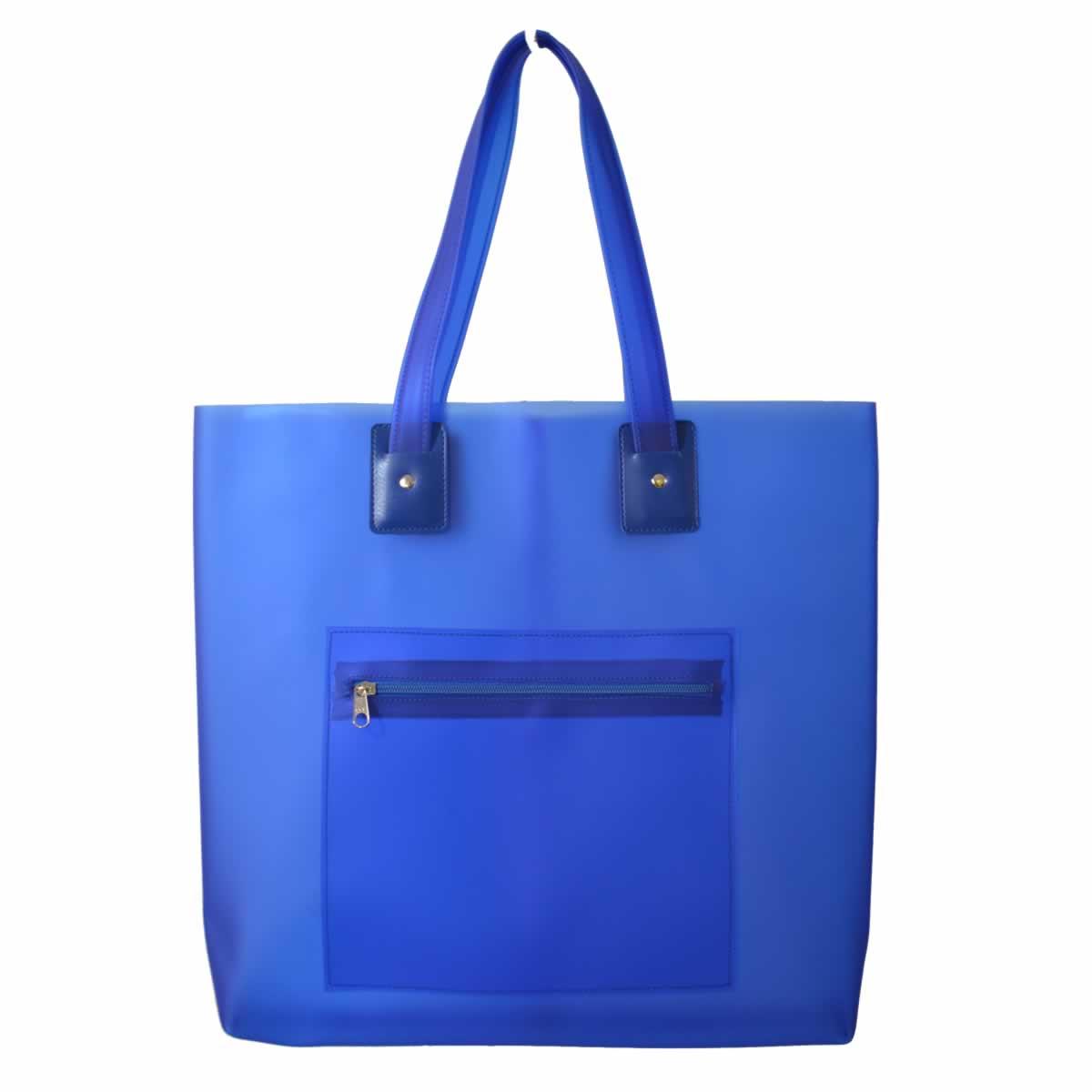 Bolsa de praia azul com bolso zíper