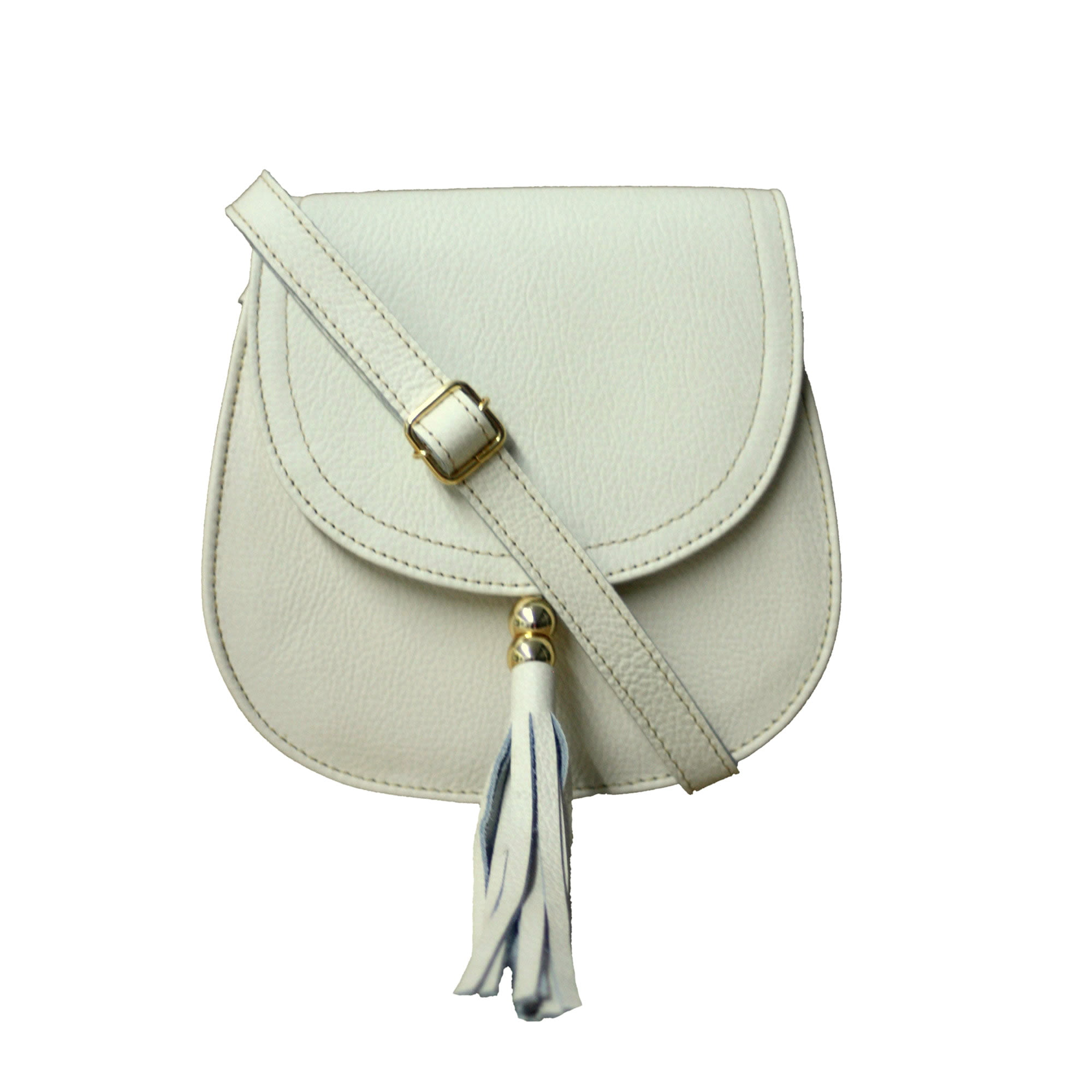 Bolsa de couro estruturada branca Nápoles