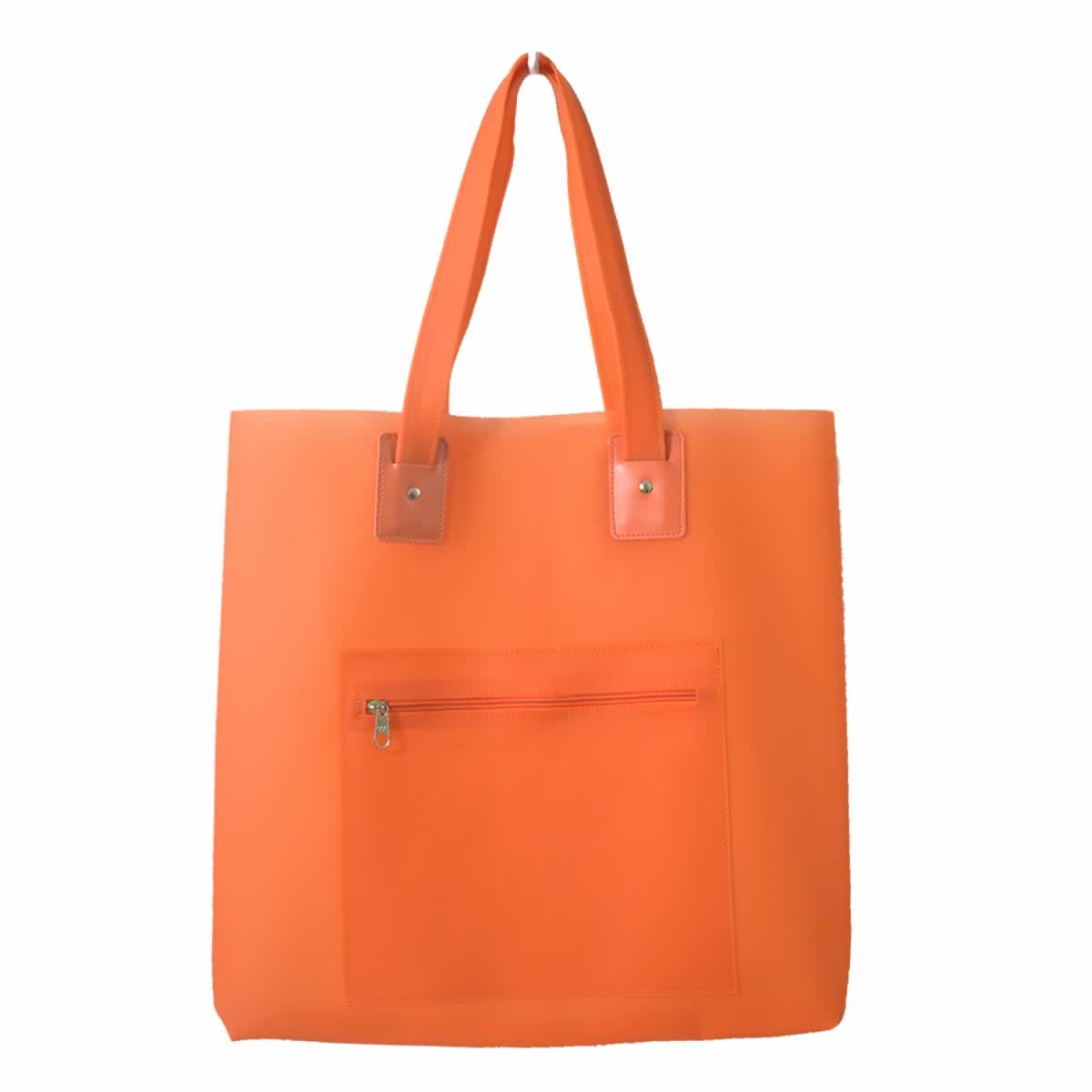 Bolsa de praia laranja com bolso zíper
