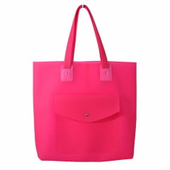 Bolsa de praia rosa com bolso