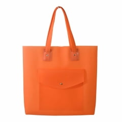 Bolsa de praia laranja com bolso
