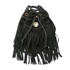 bolsa de camurça preta tipo saco