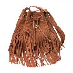 bolsa de camurça marrom tipo saco