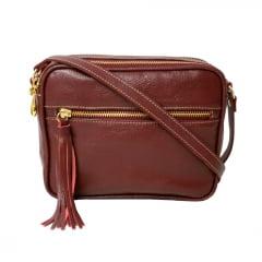 Bolsa tiracolo couro vermelha