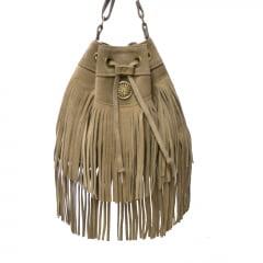 bolsa de camurça cinza tipo saco