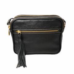 Bolsa tiracolo couro preta