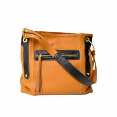 Bolsa de ombro em couro laranja Moscou
