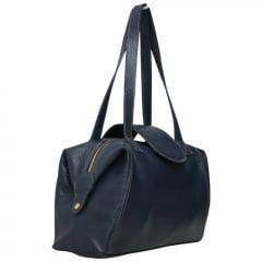 Bolsa de viagem em couro azul Nancy Allegra