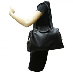 Bolsa de viagem em couro preto Nancy Allegra
